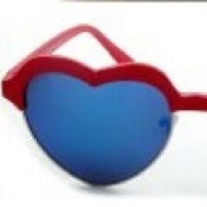 Kiss Accessories - HALFF RAME HEART MIRROR LENS SUNGLASSES RED NEW